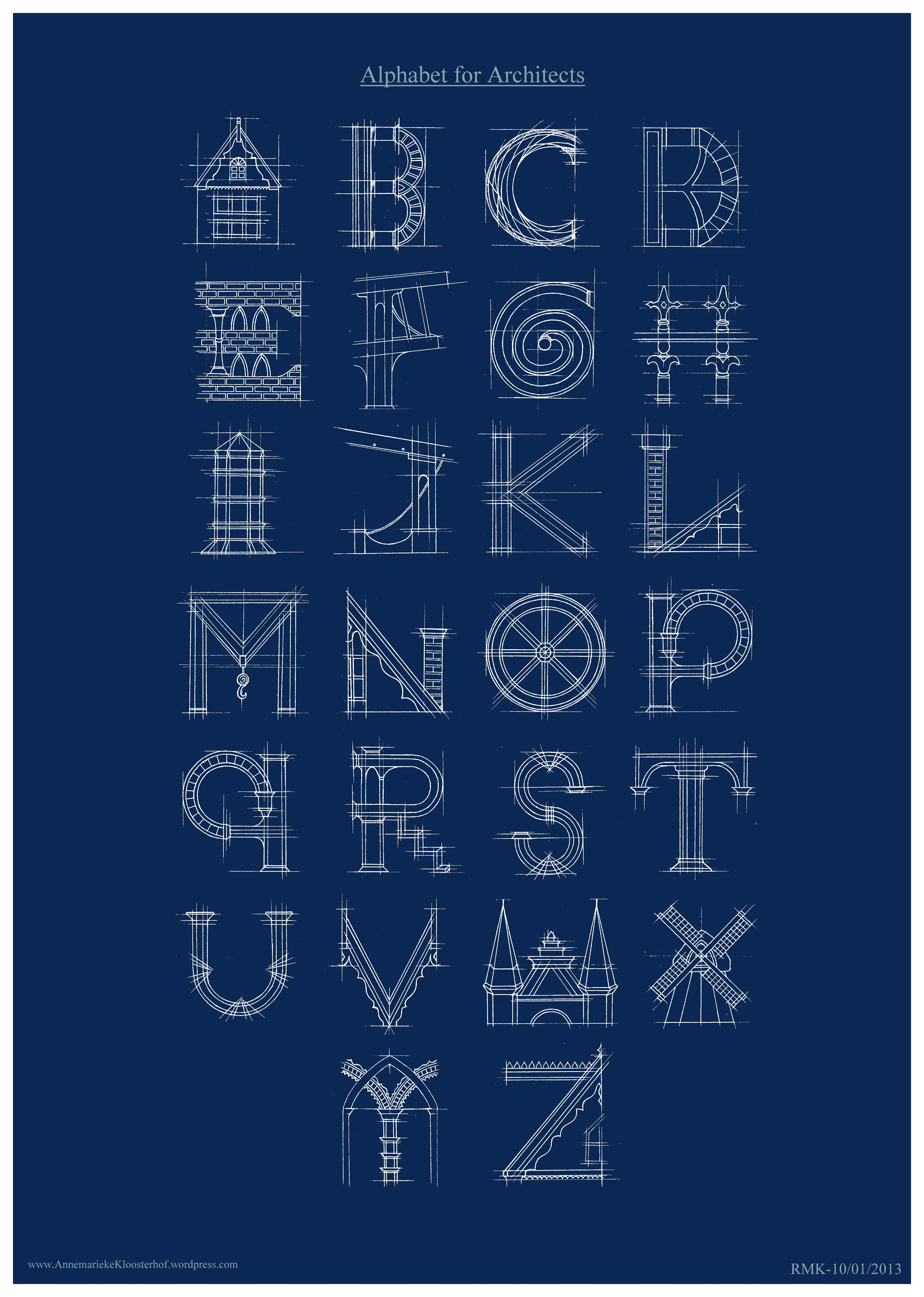 Blueprint typography for Blueprint architects